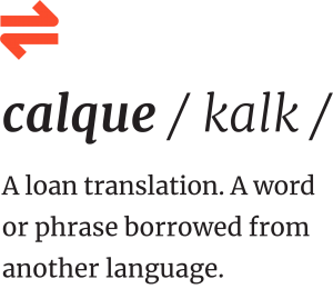 """Definition and pronunciation key for the word """"calque."""" A calque is a loan translation. A word borrowed from another language"""